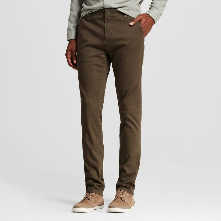 Chor Men's Slim Fit Stretch Tapered Chino Pants - Olive (Green) 32x32