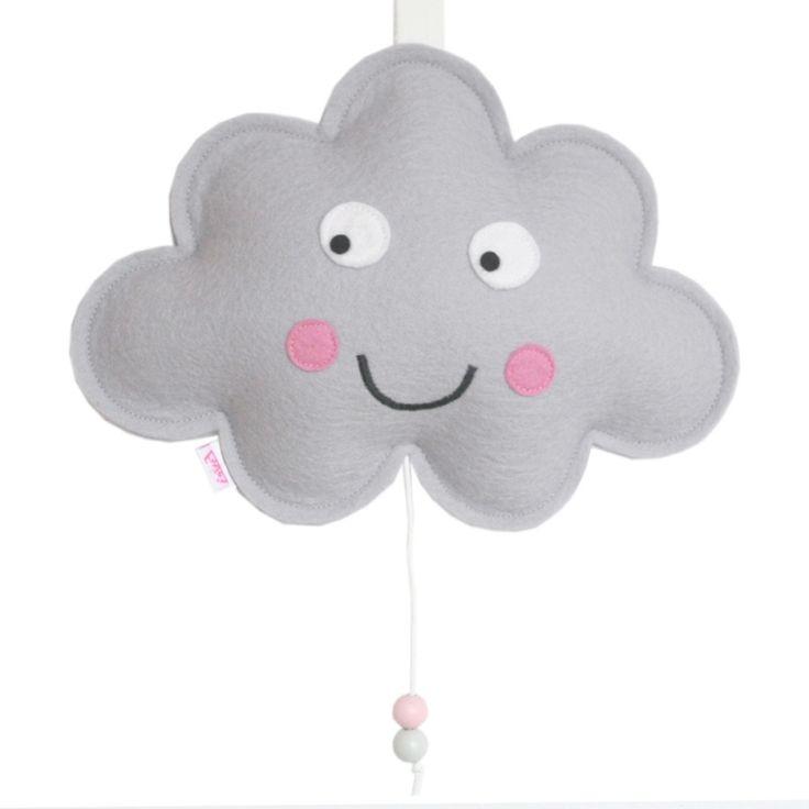 Muziekdoosje Wolk | Grijs Elke baby zal heerlijk in slaap vallen wanneer hij/zij kijkt en luistert naar dit lieve wolkje. Het muziekdoosje speelt de melodie Brahm's Lullaby en is gemaakt van 100% wolvilt. Een erg origineel cadeautje!