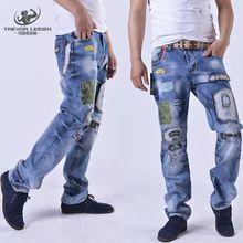 2016 Nuevo Estilo Popular Del Agujero Parche Patch Beggars Homme Vaqueros Delgados Pantalones Masculinos de La Moda hombres de Gran Tamaño Pantalones de La Manera 29-38(China (Mainland))