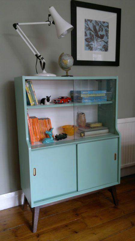 Vintage 1950s/60s bookcase display cabinet cupboard storage unit | eBay