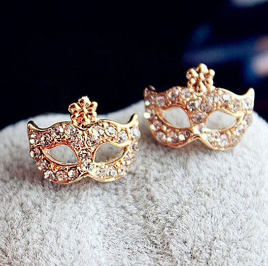 2015 Fashion Super Junior Mask Earrings Bohemia CZ Diamond Flower Gold Silver Stud Earrings for Women Gifts Wholesale Of E280