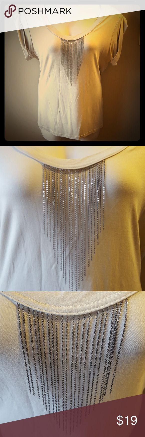Hardware fringe blouse New York & Company cream blouse with small chain fringe. New York & Company Tops Blouses