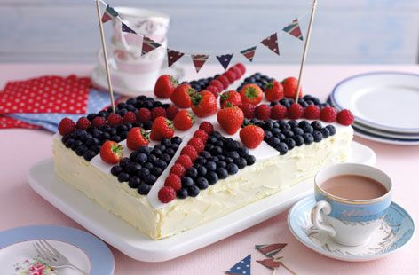 To celebrate the Queen's Jubilee...Union Jack Cake.