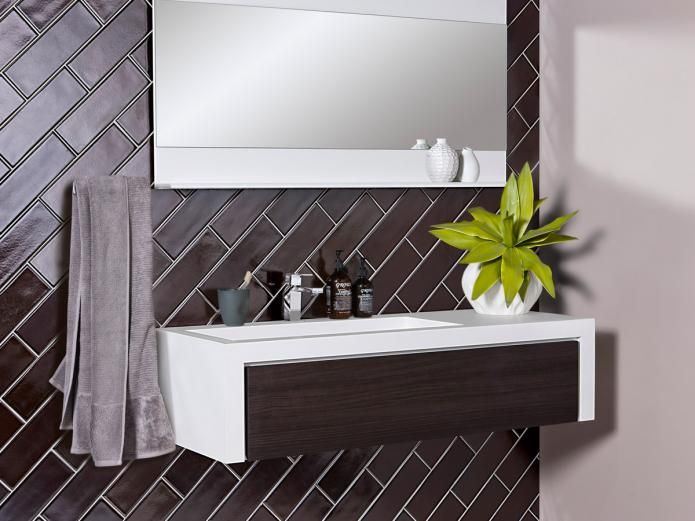 CIBO Uber 1200 Wall Hung Vanity - Front cabinetry installed with options in Navurban™ The Oaks, Blackheath, Yarra Walnut and Burwood. #newageveneers