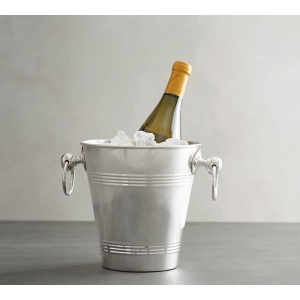 Pottery Barn Silver Polished Ice Bucket ($59) ❤ liked on Polyvore featuring home, kitchen & dining, bar tools, pottery barn, pottery barn wine chiller, pottery barn ice bucket, pottery barn champagne bucket and pottery barn wine bucket #WineBucket