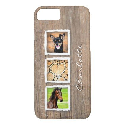 Rustic Wood Photo Collage Custom iPhone 8/7 Case - rustic style country natural diy customize personalize
