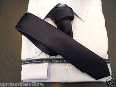 Cravatta Slim Rasata Blu Scuro Cravattino Stretto Linea Anni 60