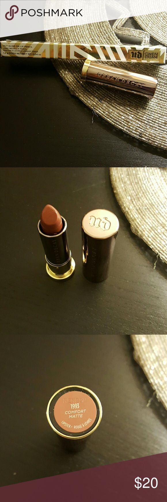 Urban Decay Lipstick and Lip liner Duo 2pc Urban Decay set includes lip liner in Firebird by Gwen Stefani for Urban Decay, and matte lipstick in Comfort. Lip liner is brand new in box, and lipstick is like new but was tested. Urban Decay Makeup Lip Liner