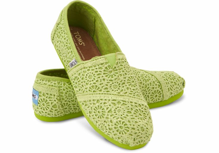 We are bright with these TOMS Lime Youth Crochet Classics!
