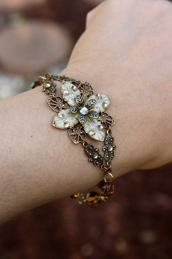 Madison Deluxe Bracelet/Ivory flower with Topaz glass beads-- perfect for a Fall wedding!