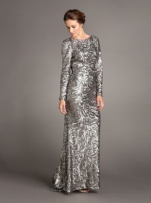 Terani Couture Women's Swirly Sequin Gown with Open Back
