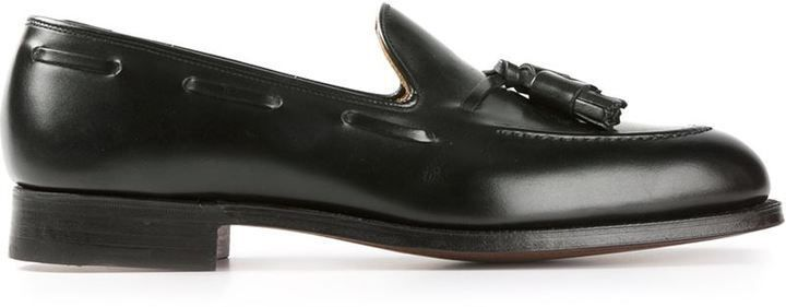 $500, Black Leather Tassel Loafers: Crockett Jones Crockett Jones Cavendish Loafers. Sold by farfetch.com. Click for more info: https://lookastic.com/men/shop_items/306822/redirect