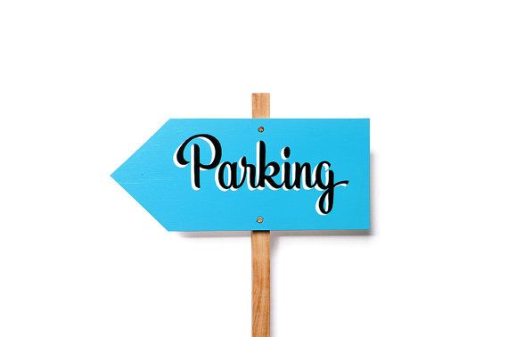 PARKING // Coloured Background -- Hand Painted Wedding Sign