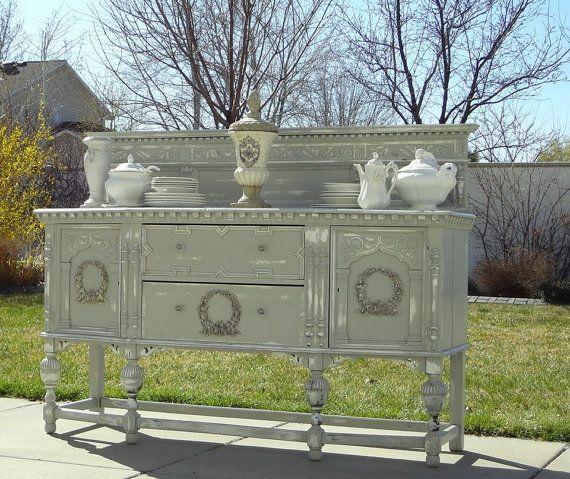 for sale vintage antique jacobean revival sideboard by xxxwildsniperxx buffets. Black Bedroom Furniture Sets. Home Design Ideas
