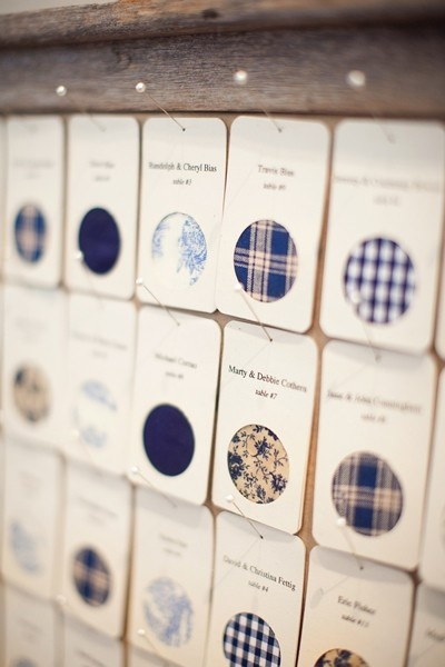 Assign a different fabric design for each table, then use swatches as the escort cards.