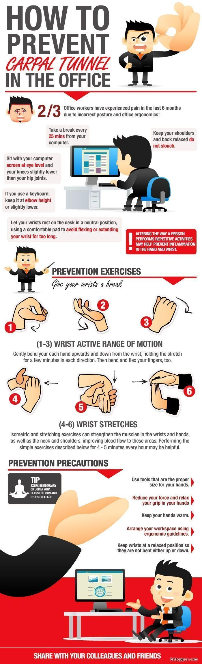 How to prevent Carpal Tunnel Syndrome in the office, using a few simple preventative measures. #Health #Infographic via bittopper.com