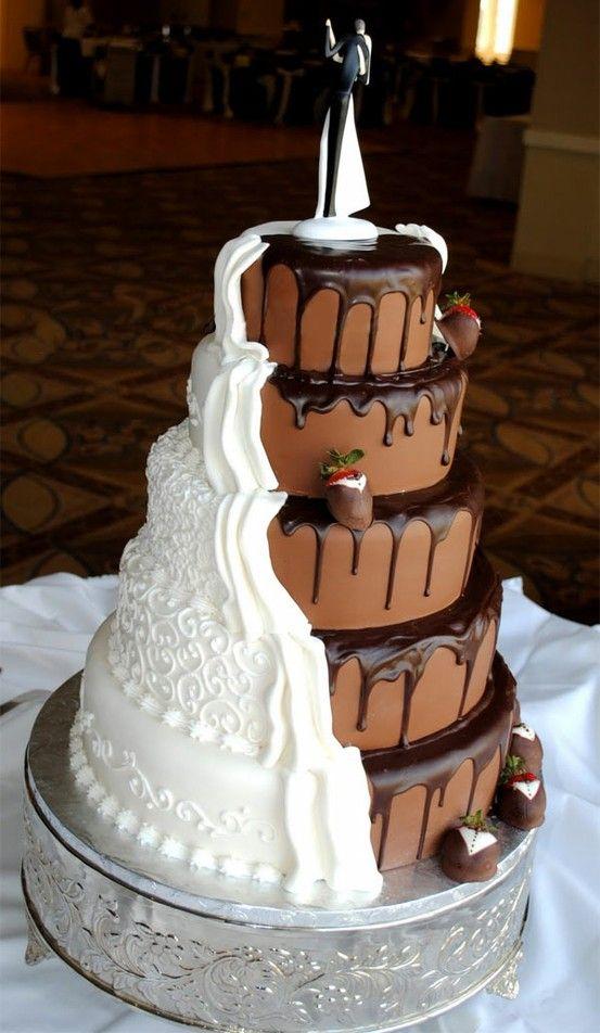 Half chocolate and half vanilla cake.