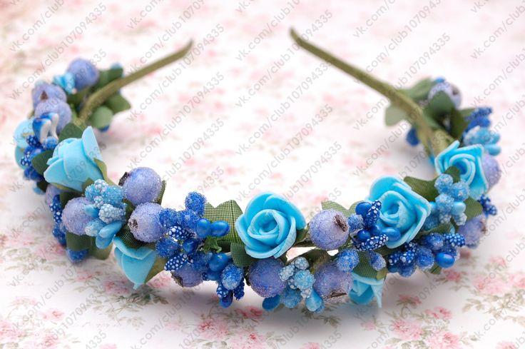 Обруч для волос с цветами голубо-синий