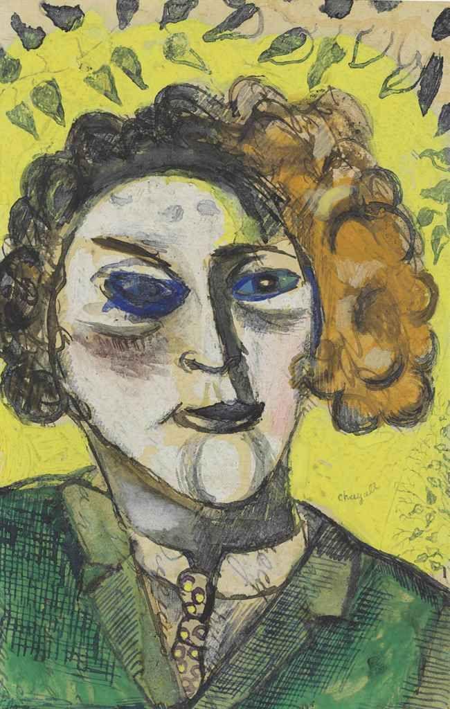 Marc Chagall (1887-1985)  Autoportrait sur fond jaune