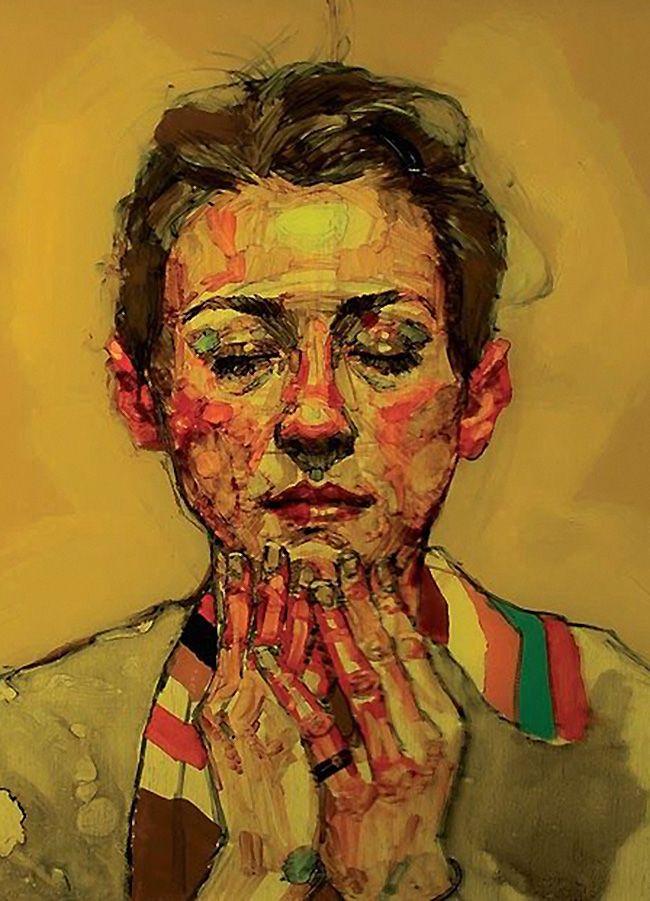 Artist: H. Craig Hanna (b. 1967), Paris {figurative #expressionist vibrant figurative face portrait painting}