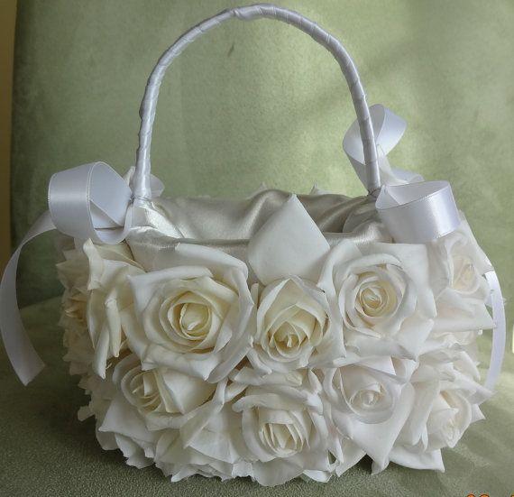 White Rose Flower Girl Bridal Basket by lovelygifts on Etsy, $120.00