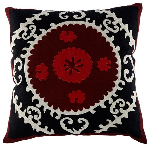 Black and Red Square Suzani Pillow - mediterranean - pillows - - by Wisteria
