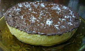 Pastel de coco y chocolate  en microhondas
