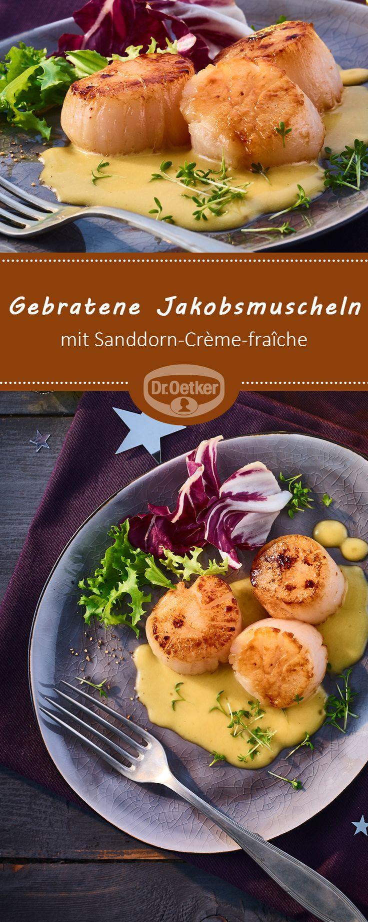 Gebratene Jakobsmuscheln mit Sanddorn-Crème-fraîche: Leichtes Muschelgericht mit herben Sanddorn