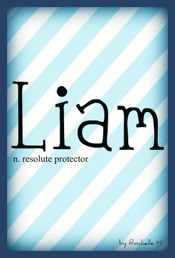 Baby Boy Name: Liam. Meaning: Resolute Protector. Origin: Hebrew; Irish. http://www.pinterest.com/vintagedaydream/baby-names/