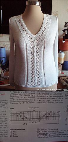 Спицы.Белый пуловер с V-образным вырезом