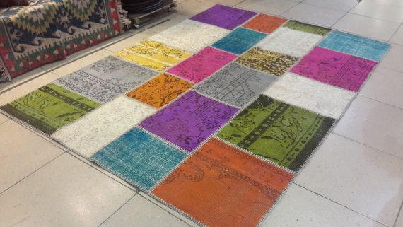 8 by 5.6 feet. Free shipping. Turkish patchwork by turkishrugman
