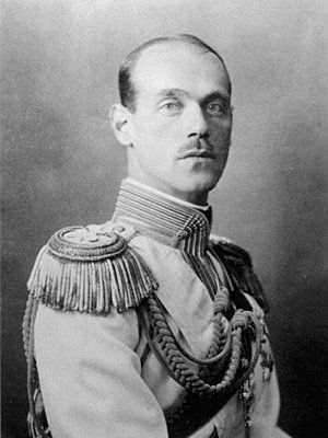 Grandchild of Christian IX - Grand Duke Michael Alexandrovich of Russia (1878–1918) the youngest son & penultimate child of Tsarevitch Alexander of Russia & his wife, Marie Feodorovna (known before her marriage as Princess Dagmar of Denmark). He married the wife of a fellow officer, Natalia Sergeyevna Wulfert (name changed to Natalia Brasova). After the revolution in 1918, Michael was the first of the Romanovs to be executed by the Bolsheviks, his remains were ever found.