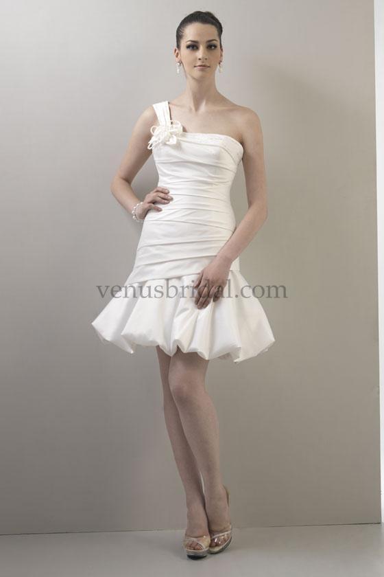 One shoulder short dress-Make your dream wedding dress come true, we'll make it for you at Www.DreamDress.co/custom