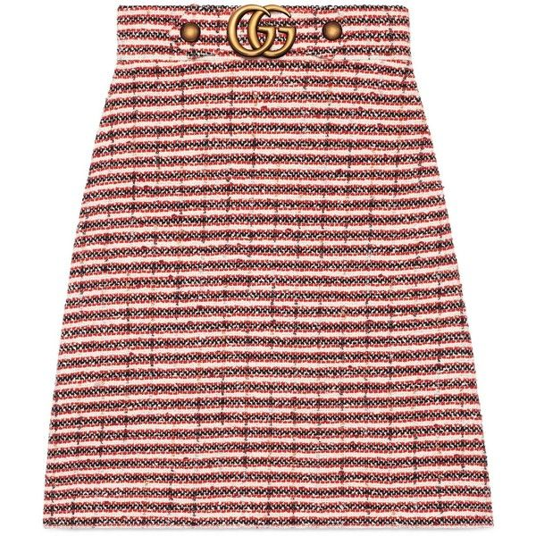 Gucci Striped Tweed Skirt (4,160 ILS) ❤ liked on Polyvore featuring skirts, ready-to-wear, women, stripe skirt, gucci skirt, red a line skirt, red stripe skirt and knee high skirts