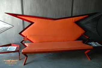 Retro space age googie orange metal couch by Dan StatlerDecor, Metals Couch, Orange Things, Colors Orange, Spaces Age, Metals Art, Retro Spaces, Orange Obsession, Orange Metals
