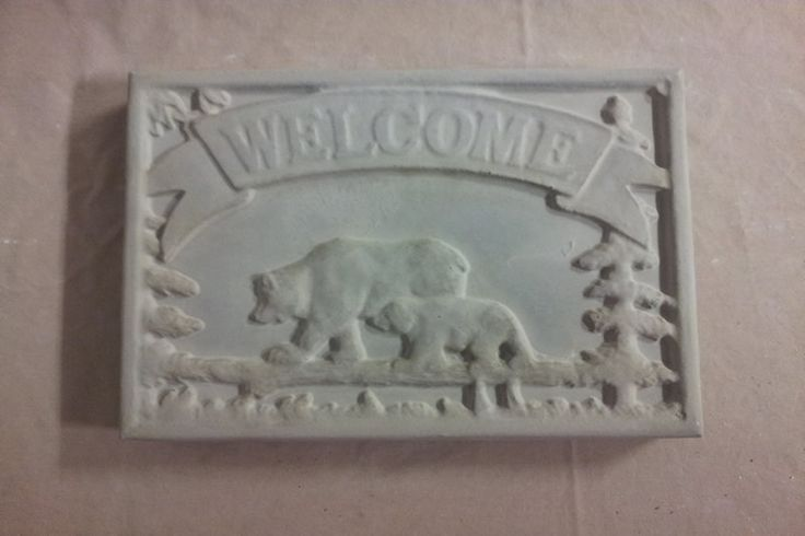 Concrete Welcome Bear Stepping Stone