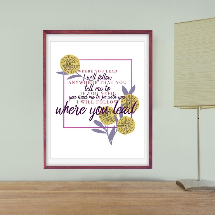 Printable Gilmore Girls Song Art, Gilmore Girls Quote Art, Where You Lead Floral Art Print, Gilmore Girls Wall Art, Gilmore Girls Theme Song by jlschulmanArt on Etsy