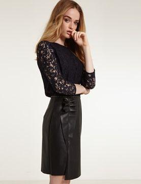 Morgan - Vestido de encaje símil cuero liso