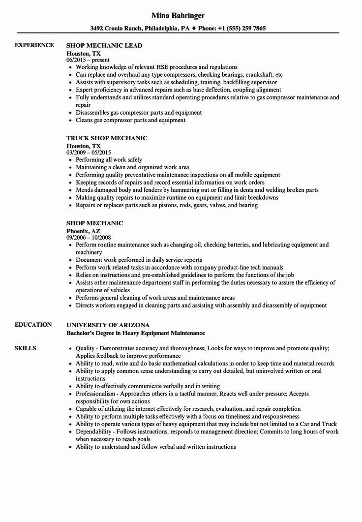23 Diesel Mechanic Resume Examples in 2020 Resume
