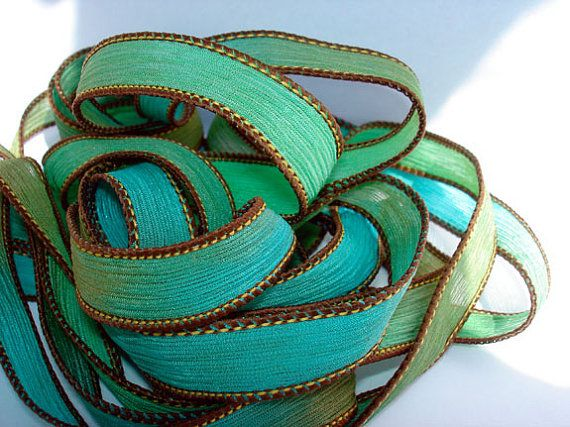 Sand and Sea 42 inch silk ribbon By Color by ColorKissedSingles, $3.00