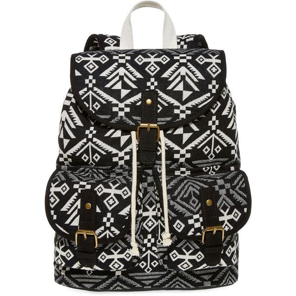 SM New York Aztec Print Cargo Backpack ($30) ❤ liked on Polyvore featuring bags, backpacks, accessories, aztec print backpack, flap bag, drawstring backpack bags, aztec pattern backpack and top handle bag