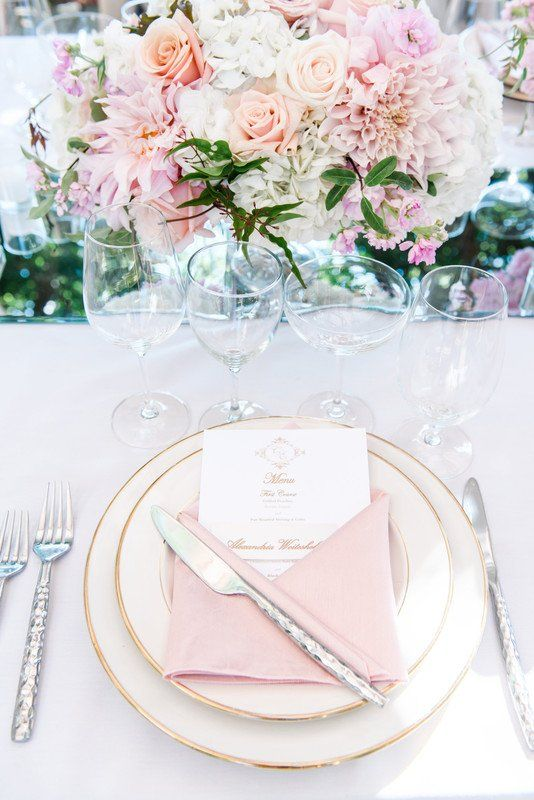 Spring Wedding Place Setting Idea Gold Ivory Blush Weddings By Scott And