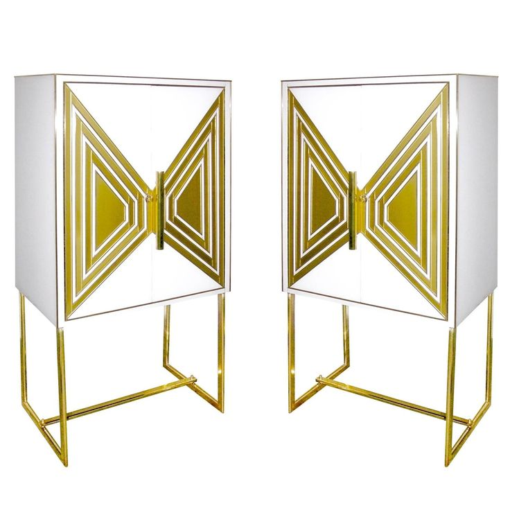 Contemporary Italian Pair of Modern Cream and Gold Glass Cabinets / Dry Bars | See more antique and modern Cabinets at https://www.1stdibs.com/furniture/storage-case-pieces/cabinets