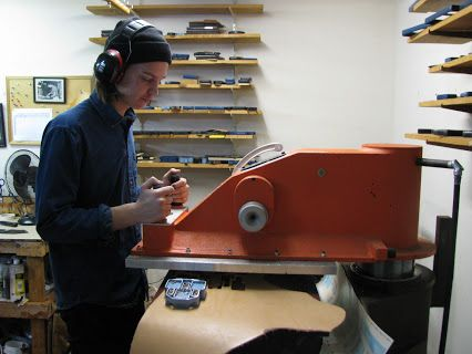 LeathersmithDesigns.com will miss Luke who left this spring to continue studying his Bachelor of Fine Arts degree in Toronto at Ontario College Of Art And Design University in the Fall of 2016. Luke is cutting some leather products on our hydraulic clicker press in this photo. #OCADU #DieCuttingLeather #Leather