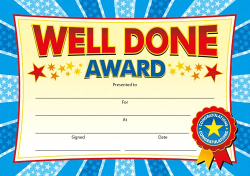 CERTIFICATES - WELL DONE AWARD