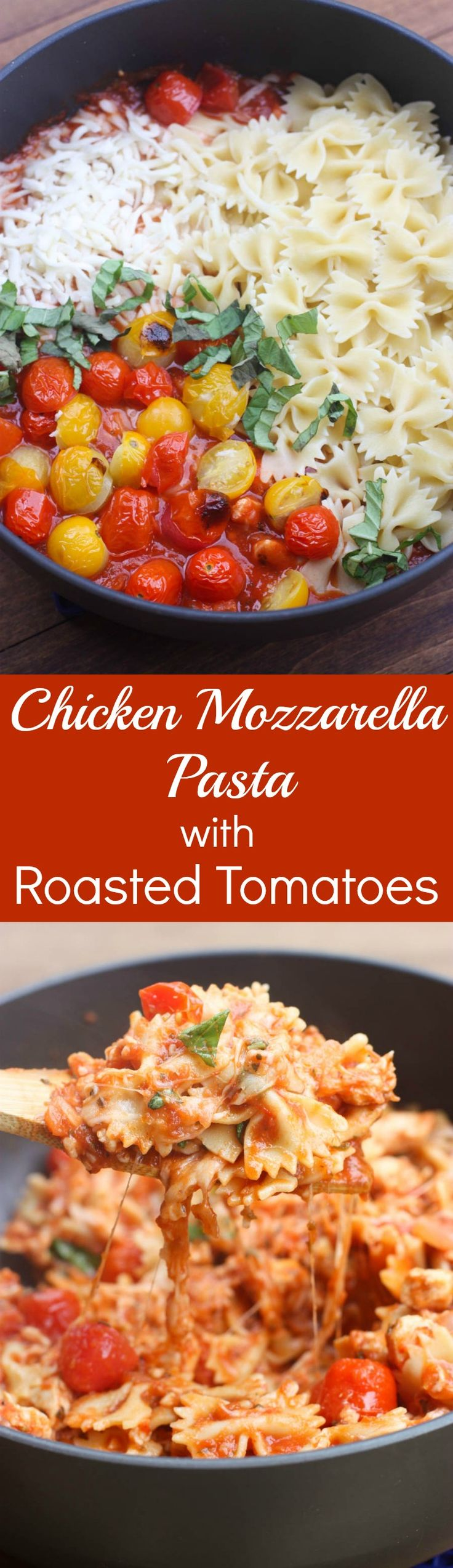 Warm and cheesy Chicken Mozzarella Pasta with Roasted Tomatoes is an easy, family-friendly pasta that takes less than 30 minutes to make! | Tastes Better From Scratch