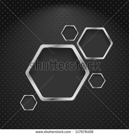 Abstract metal background with hexagons. Vector design template