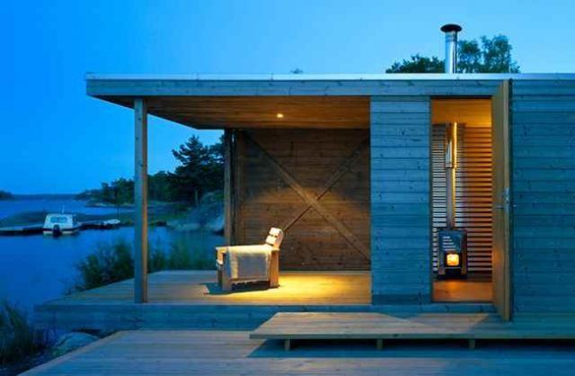 Sauna opens up to a deck