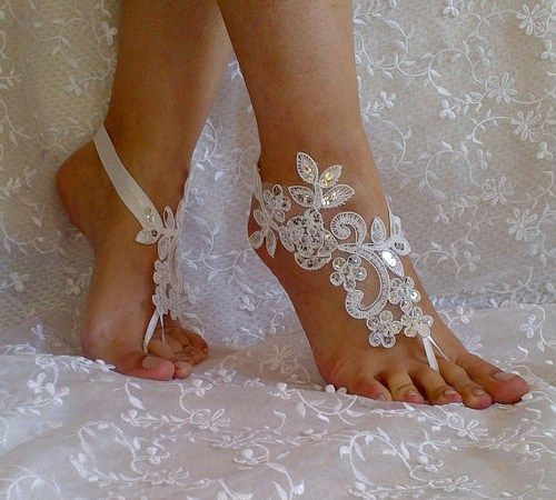 Free Ship lace sandals white or ivory lace anklet Beach wedding silver
