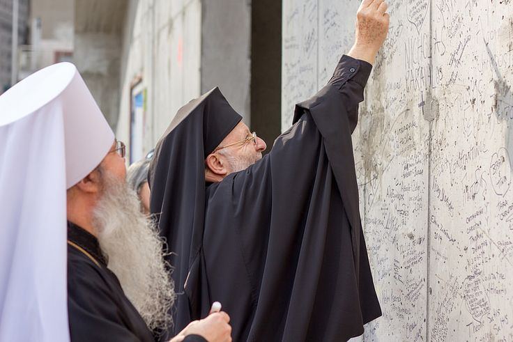 St. Nicholas Ground Blessing, October 18, 2014. Metropolitan Joseph of the Antiochian Archdiocese and Metropolitan Tikhon of the Orthodox Church in America sign the wall of St. Nicholas. #RebuildStNicholas